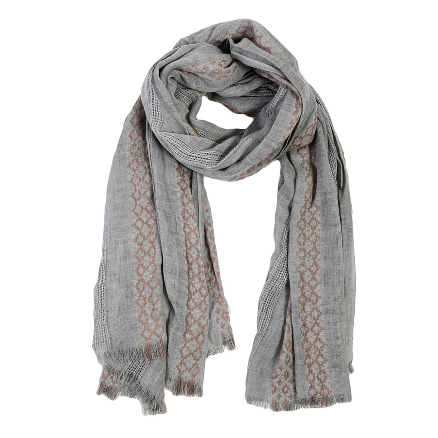 BELIZE SCARF - GREY/BLUSH-Scarf-Pom Pom at Home
