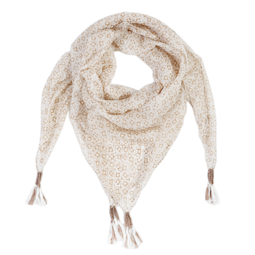BRAGA SILK SCARF - White/Beige-Scarf-Pom Pom at Home