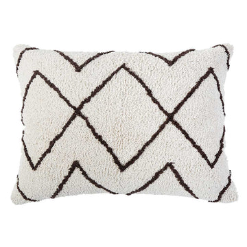 "DUNE HAND WOVEN BIG PILLOW 28"" X 36"" WITH INSERT - Ivory/Earth-Pom Pom at Home"