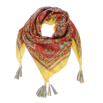 ISTANBUL SILK SCARF  - Red/Gold