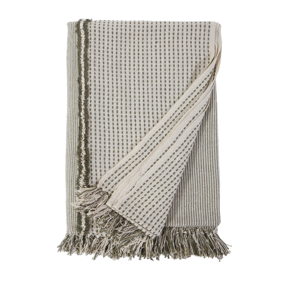 JAGGER OVERSIZED THROW - IVORY/ MOSS-Pom Pom at Home