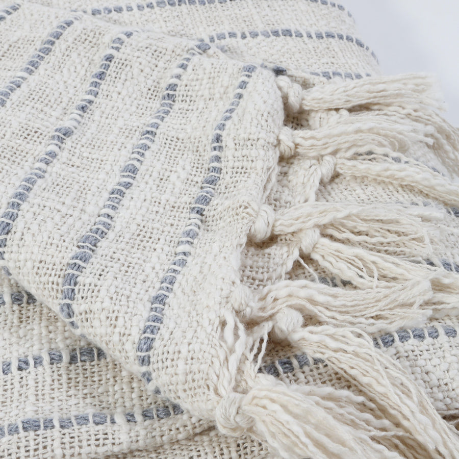 JOJO OVERSIZED THROW -  IVORY/ BLUE GREY