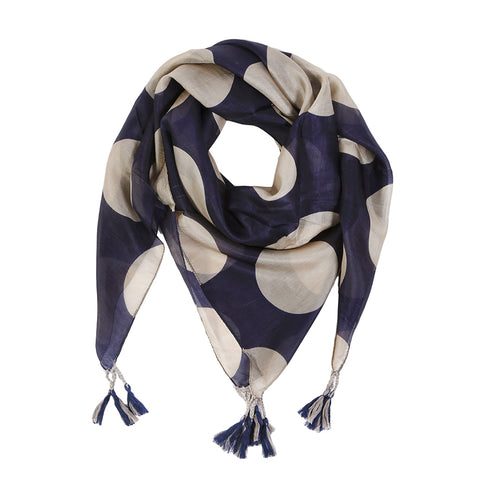 "<font color=""526b9e""><b> NEW! </b></font> MARAIS SILK SCARF - <br> Navy/Taupe"