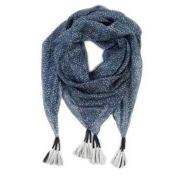 MILAN SILK SCARF - Stone Blue-Scarf-Pom Pom at Home