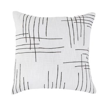 "MILO 20"" PILLOW WITH INSERT -  IVORY/CHARCOAL"