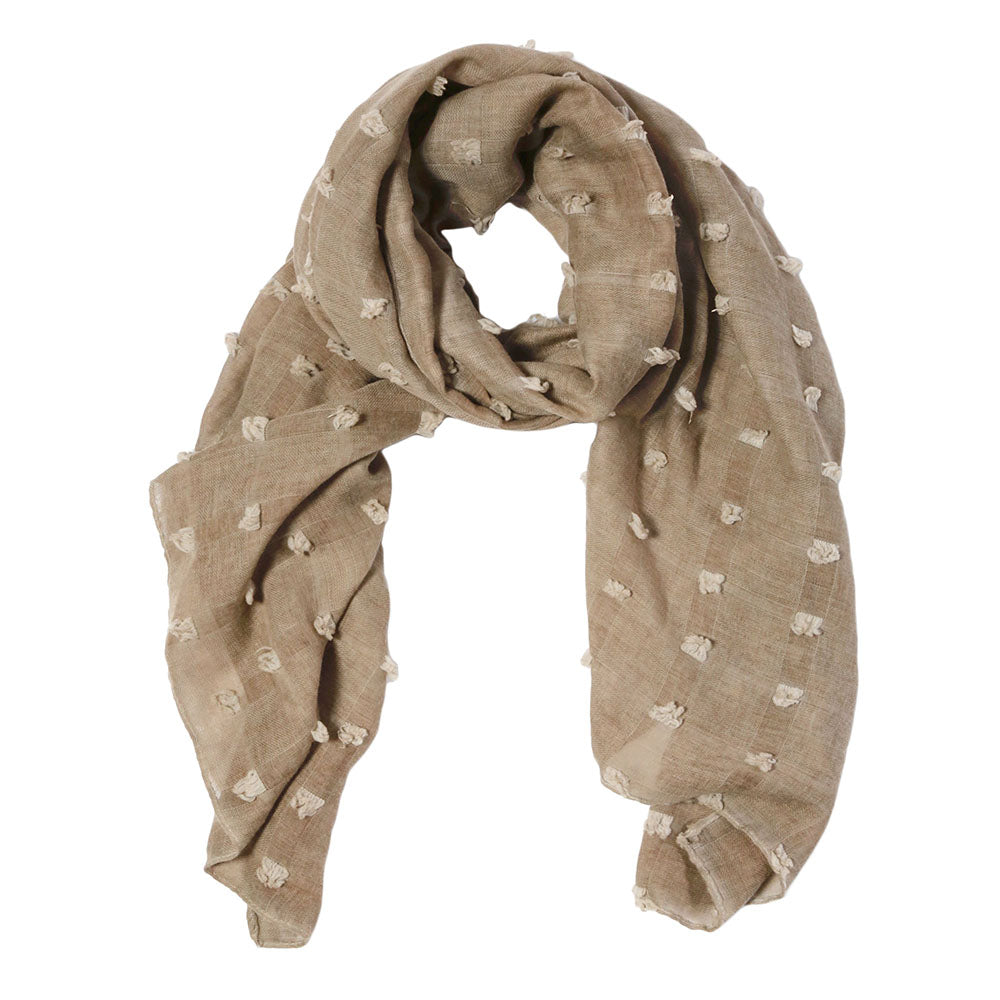 "<font color=""526b9e""><b> NEW! </b></font> POPPY SCARF - <br> TAUPE"