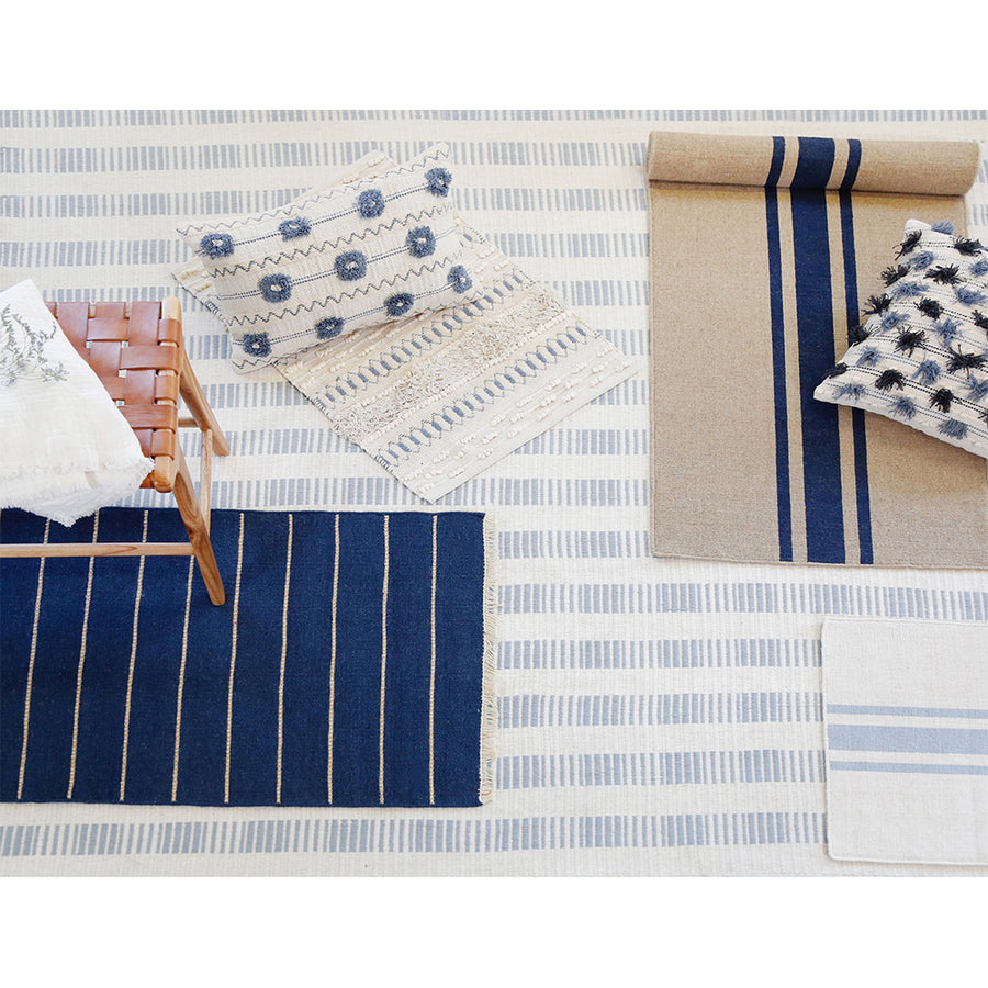 <b> NEW! </b> WARBY HANDWOVEN RUG - NAVY