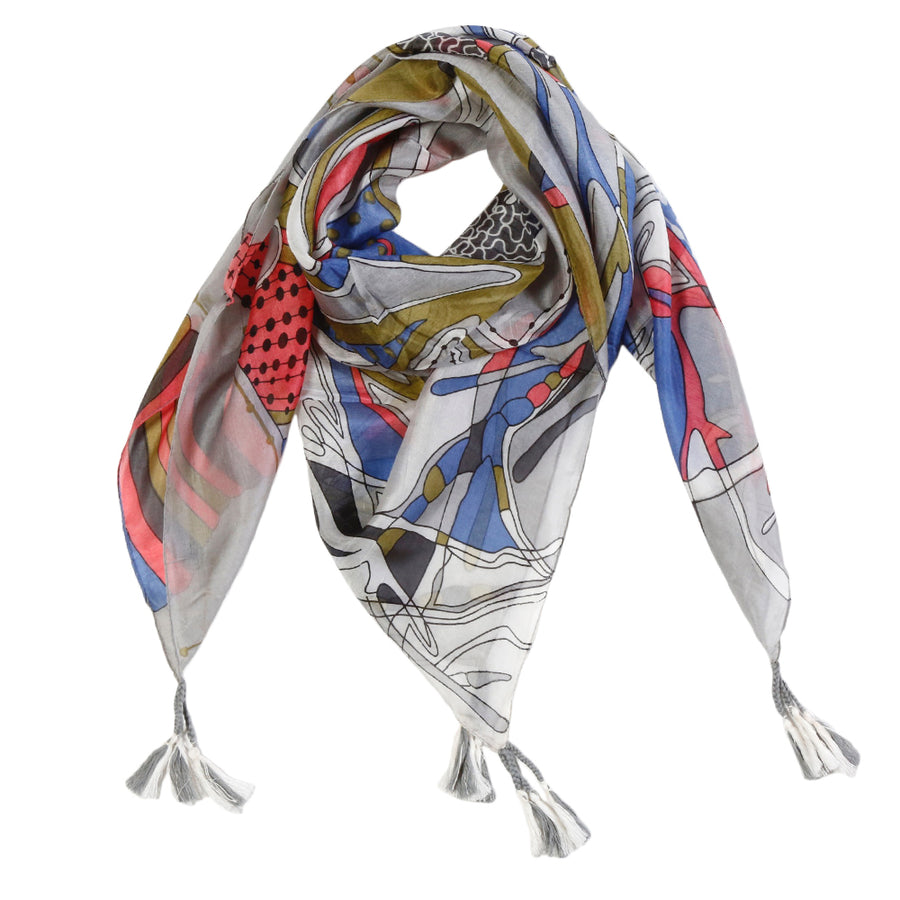<b> NEW! </b> TORINO SILK SCARF  - Grey/ Multi Color