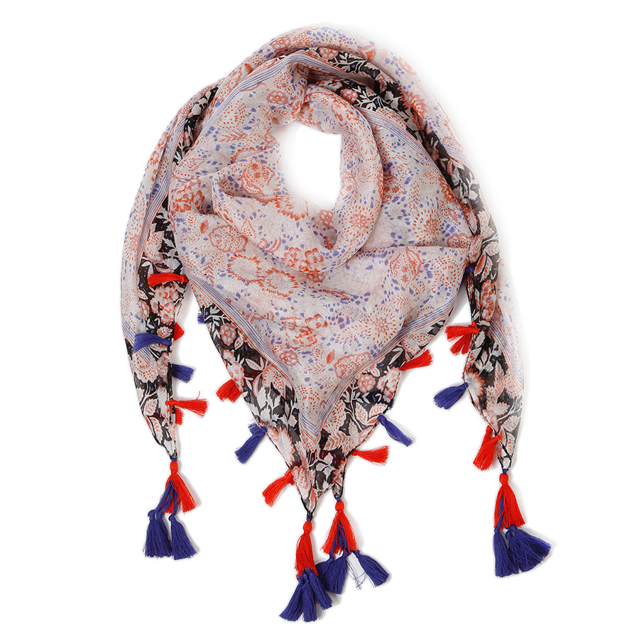 VALENCIA SILK SCARF -  Royal Blue/Orange