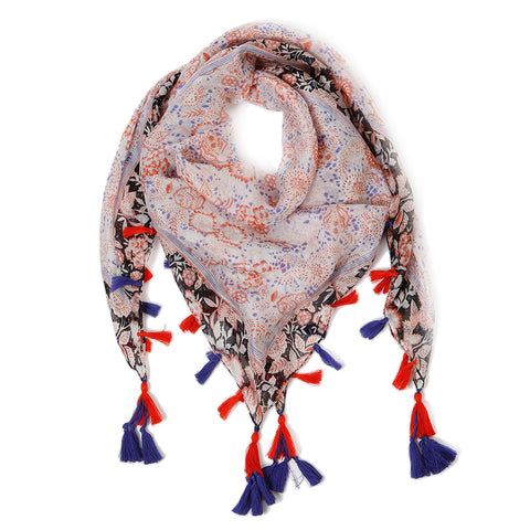 VALENCIA SILK SCARF - <br> Royal Blue/Orange