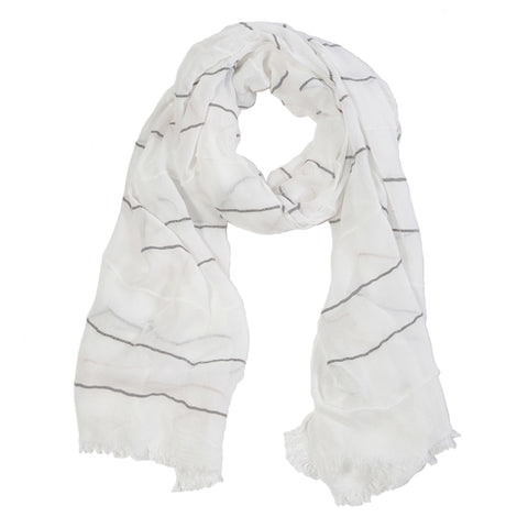 "<font color=""526b9e""><b> NEW! </b></font> WESTPORT SCARF - <br> WHITE"