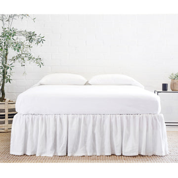 GATHERED LINEN BEDSKIRT- WHITE-Bed Skirt-Pom Pom at Home