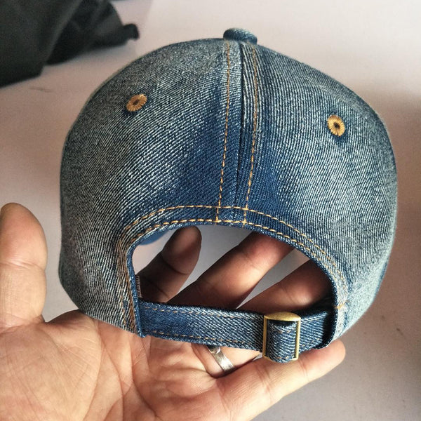 Washed Denim Baseball Cap-Back