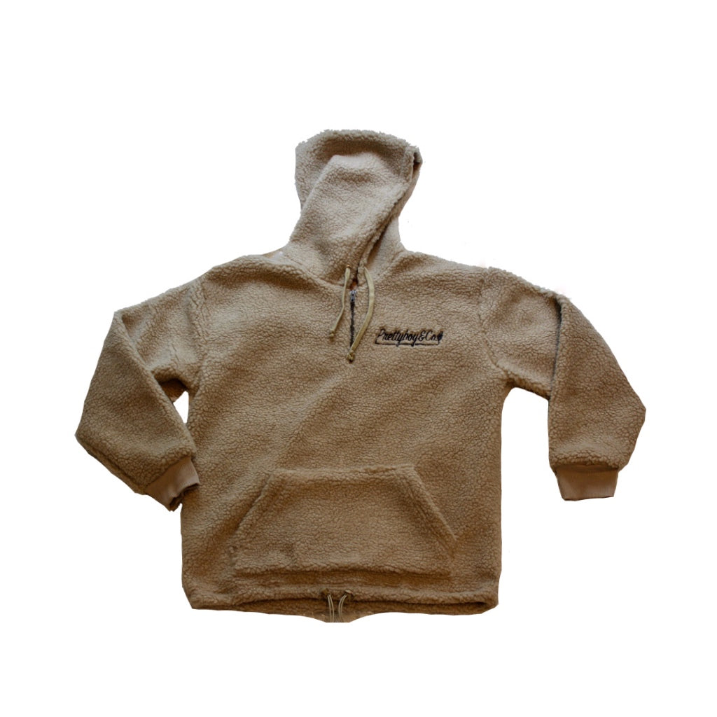 Tan Embroidered Script Sherpa (Limited)
