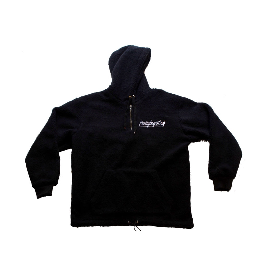 Black Embroidered Script Sherpa (Limited)