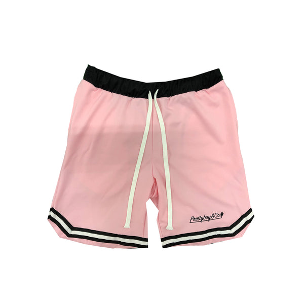 Pink Embroidered Script Track Shorts