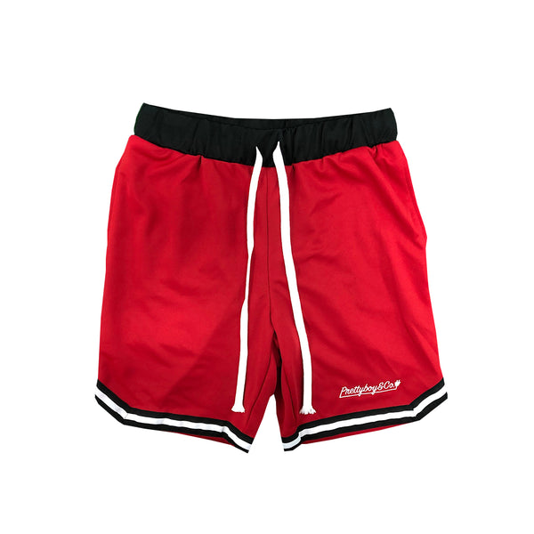Red Embroidered Script Track Shorts