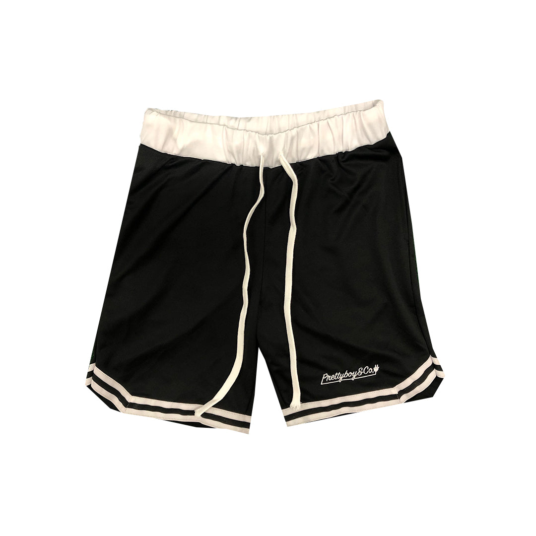 Black Embroidered Script Track Shorts