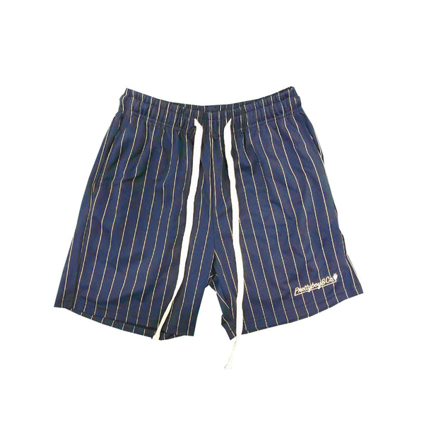 Navy/White Pinstripe Embroidered Script Track Shorts (LIMITED)