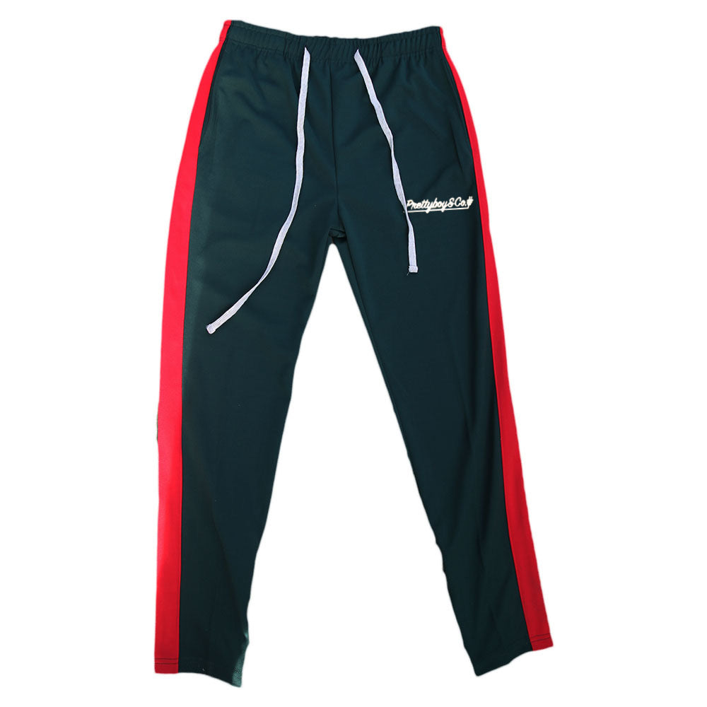 Green/Red Embroidered Script Track Pants