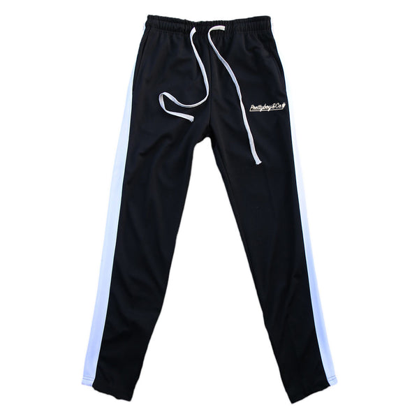 Black/White Embroidered Track Pants