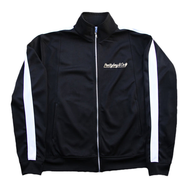 Black/White Embroidered Script Track Jacket (Limited)