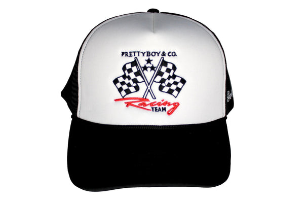 Black Embroidered Racing Flags Trucker Hat (The PrettyboyJaf Collection)