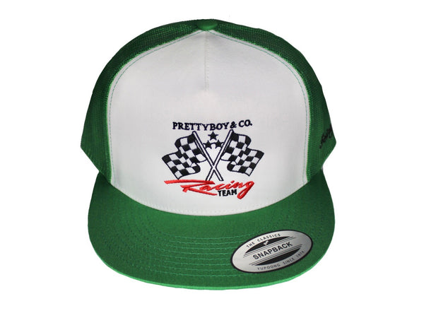 Green Embroidered Racing Flags Trucker Hat (The PrettyboyJaf Collection)