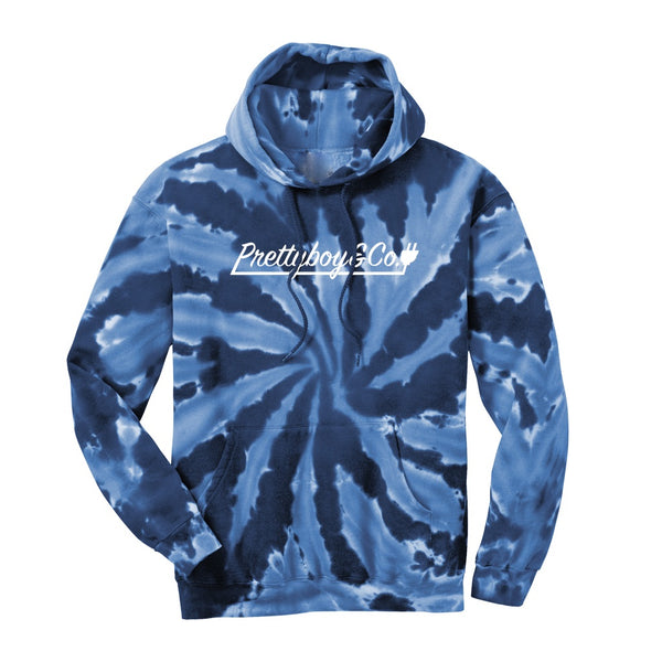 Blue Tie Dye Script Hooded Sweatshirt (Limited)