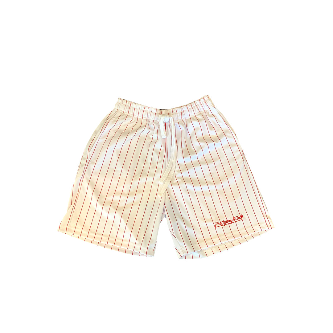 White/Red Embroidered PinStripe Track Shorts (Limited)