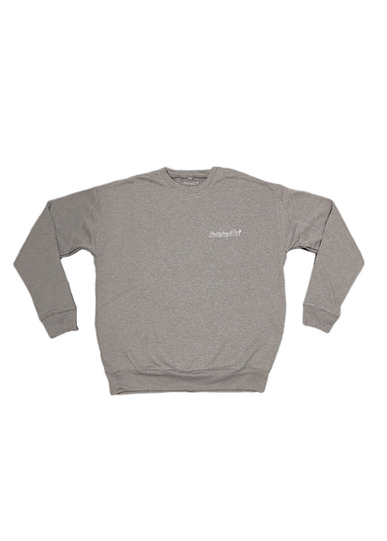 Premium Shadow Grey Embroidered Script Crewneck
