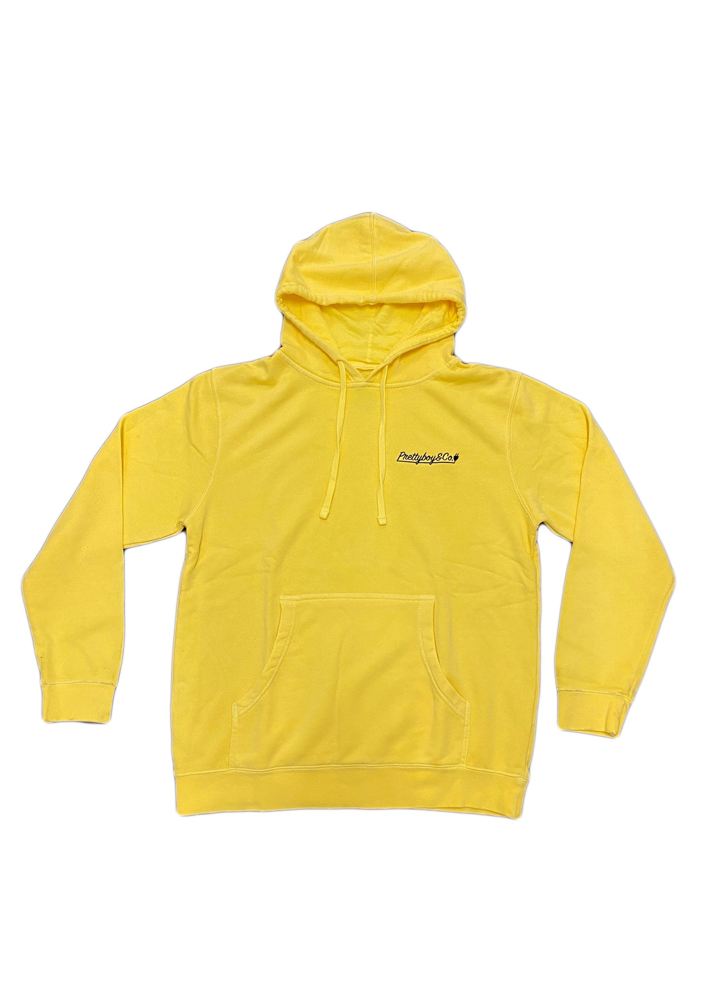Premium Canary Yellow Embroidered Script Hoodie