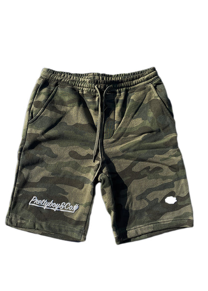 Green Camo Embossed Script Sweatshort