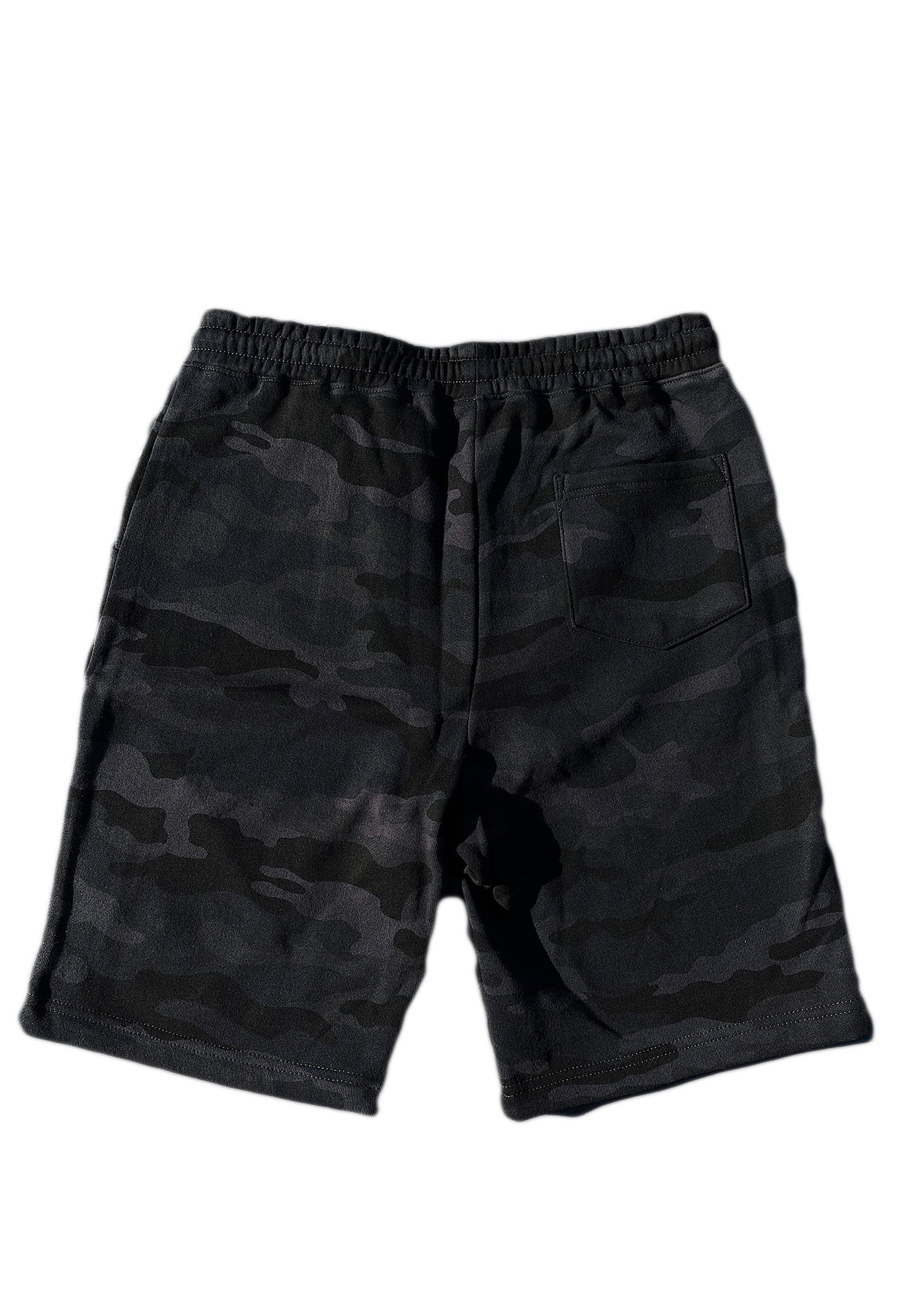 Black Camo Embossed Script Sweatshort