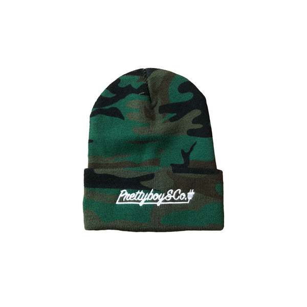 Camo Embroidered Script Beanie (Limited)