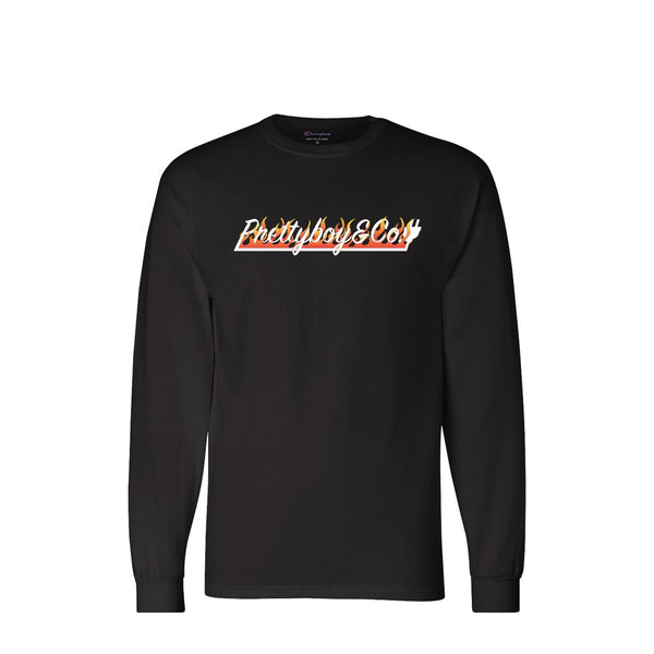 Black Champion Flames Script Long Sleeve (Limited)
