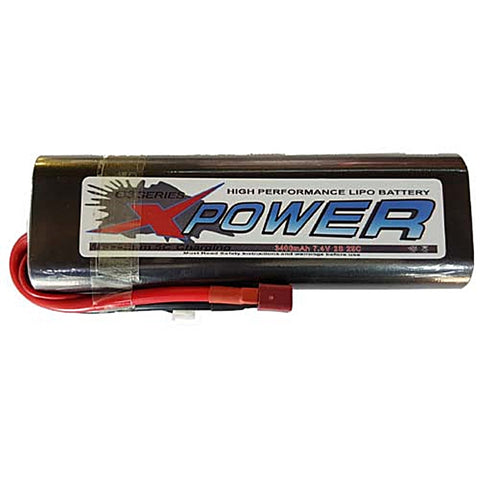Battery LiPo 2S 3400mAh 7.4V 25c Hard Case