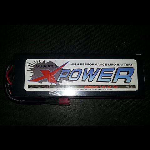 Battery LiPo 2S 6000mAh 7.4V 70c Hard Case