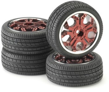 Wheels & Tyres 211000018 Spyder Red Chrome (4) 1:10