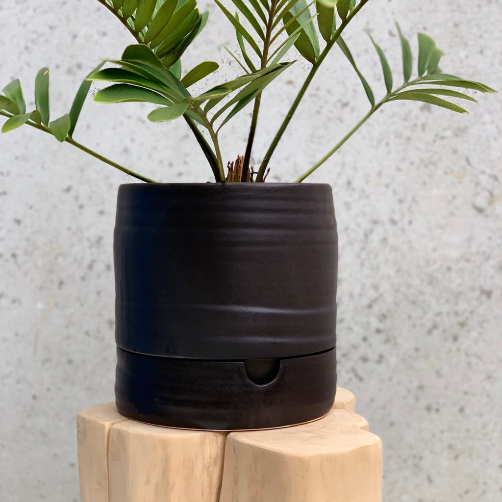 Self Watering Pot Tall / Matt Black
