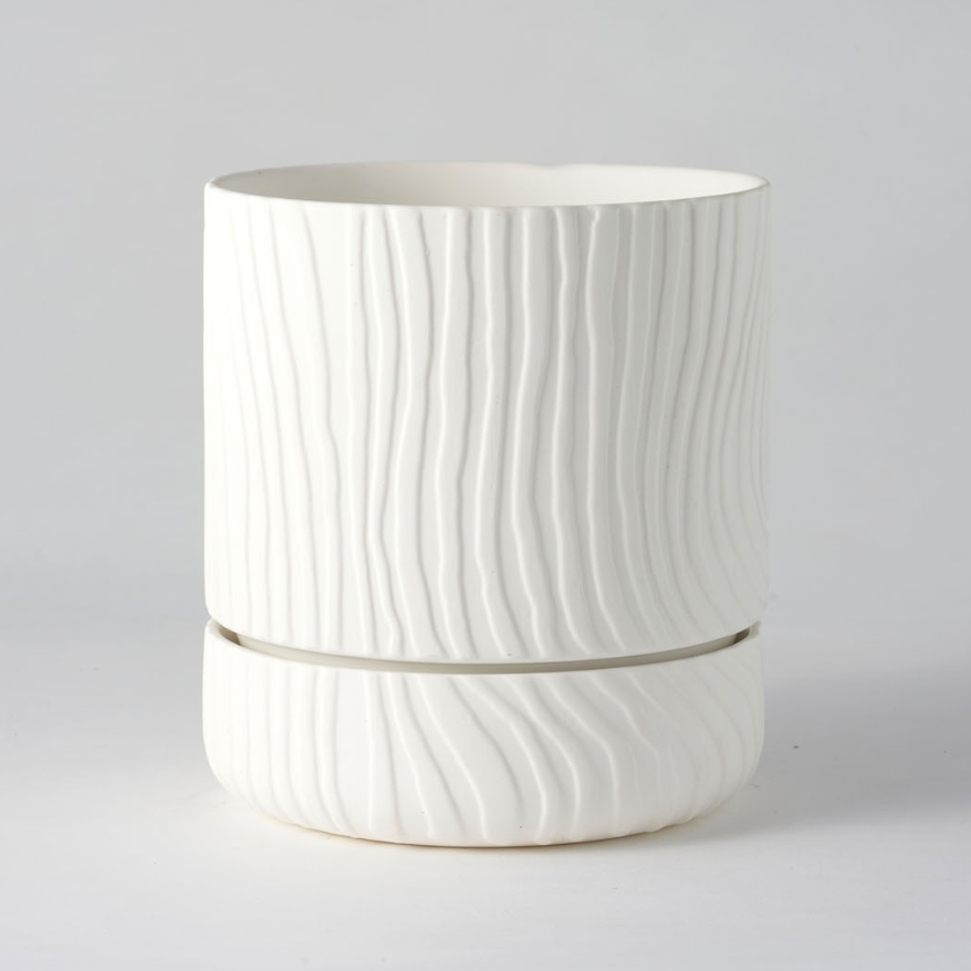 Abstract Relief Plant Pot / Brush Line Thin White