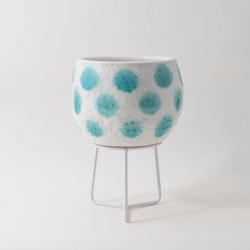 Hand-thrown Boulder Pot Small / Teal Green Spots (Angus & Celeste)