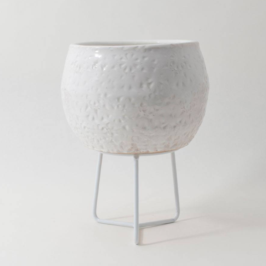 Hand-thrown Boulder Pot Small / White