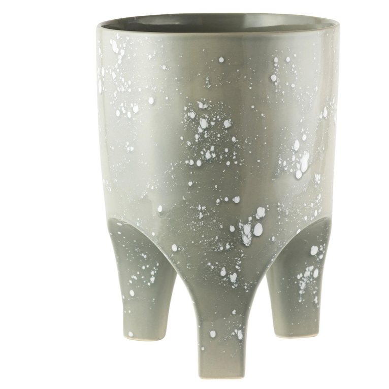 Arched Leg Large Plant Pot / Grey Crystal (Angus & Celeste)