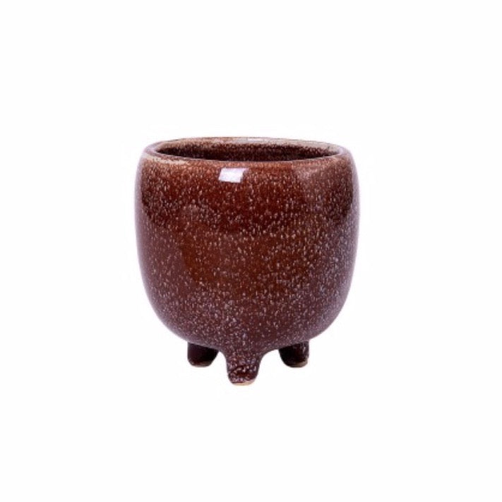Nariko Footed Plant Pot / Chestnut