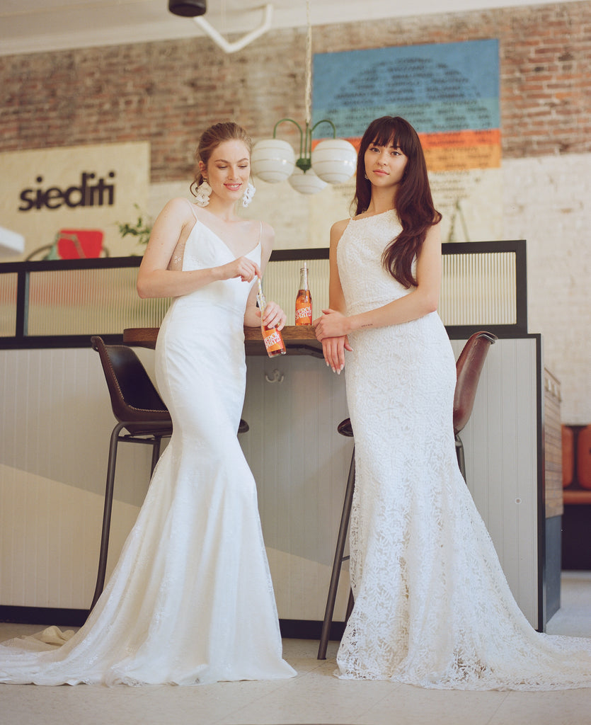 modern lace and crepe wedding dresses