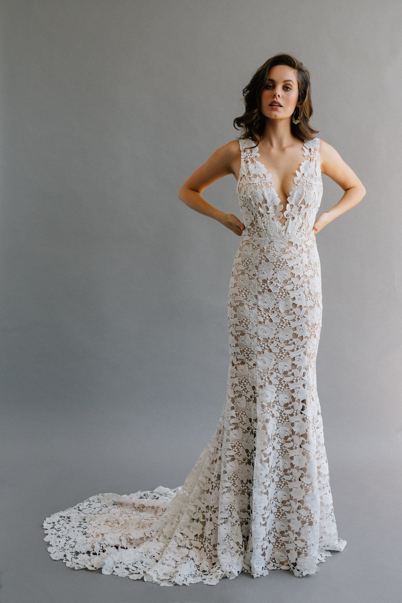Boho mermaid wedding dress with nude lining and off white lace overlay