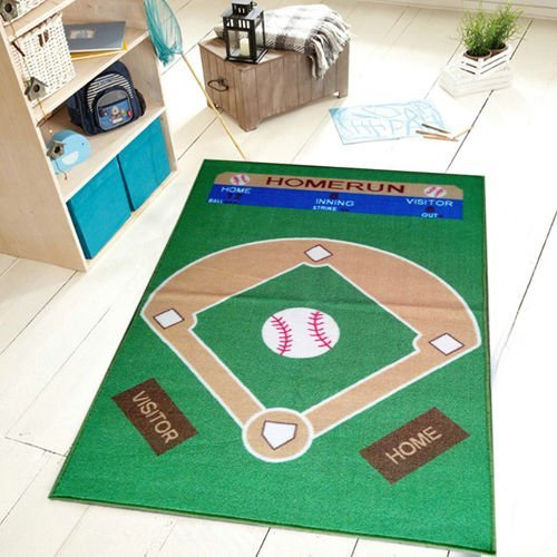 Maple Home 710 Baseball All Stars Ground Kids Rug Green