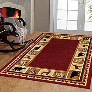 Maple Home 3 Piece Wildlife Bear Moose Rustic Lodge Cabin Lodge Carpet Area Rug 3PC Set