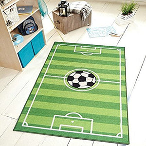 Maple Home Soccer Kids Play Ground Field Area Rug Green
